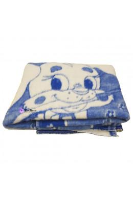 Одеяло детское шерстяное синее 100x140