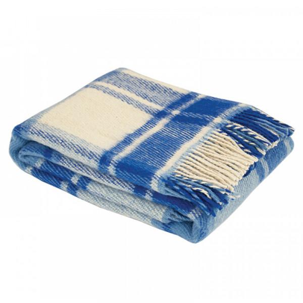 Плед из новозеландской шерсти сине-белый 140x200 см
